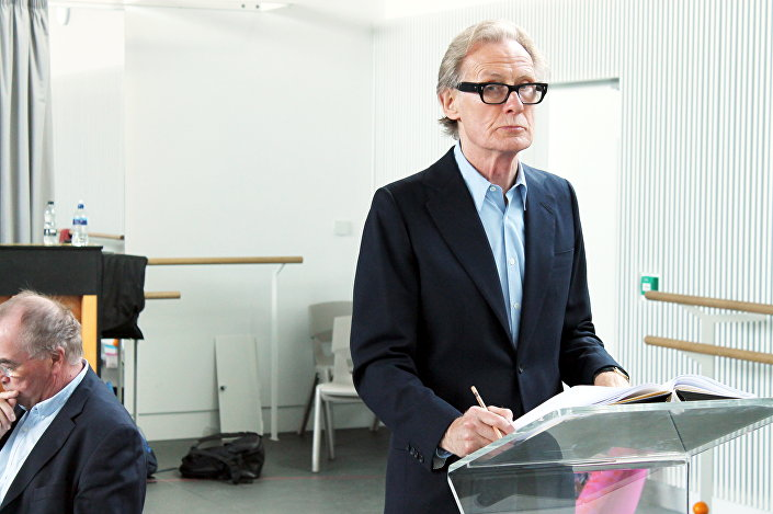 Actor Bill Nighy as narrator during the rehearsal of the Stuff Happens play.