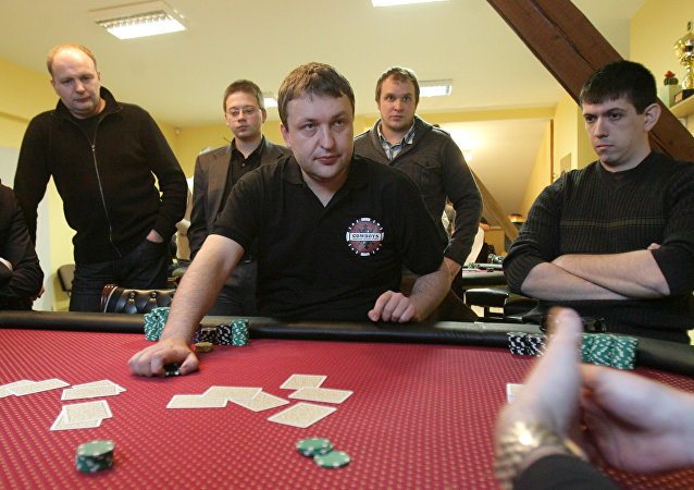 Lithuanian Antanas Guoga, more commonly known as Tony G, a businessman and professional poker player, plays a game in Vilnius on March 12, 2010.