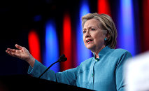 Democratic US presidential candidate Hillary Clinton speaks at the US Conference of Mayors 84th Annual Meeting in Indianapolis, Indiana United States