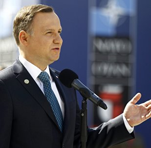 Poland's President Andrzej Duda speaks outside PGE National Stadium, the venue of the NATO Summit, in Warsaw, Poland July 8, 2016.