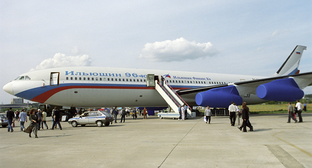 A long range jet liner Il-96-400 designed by the Sergey Ilyushin experimental design office.