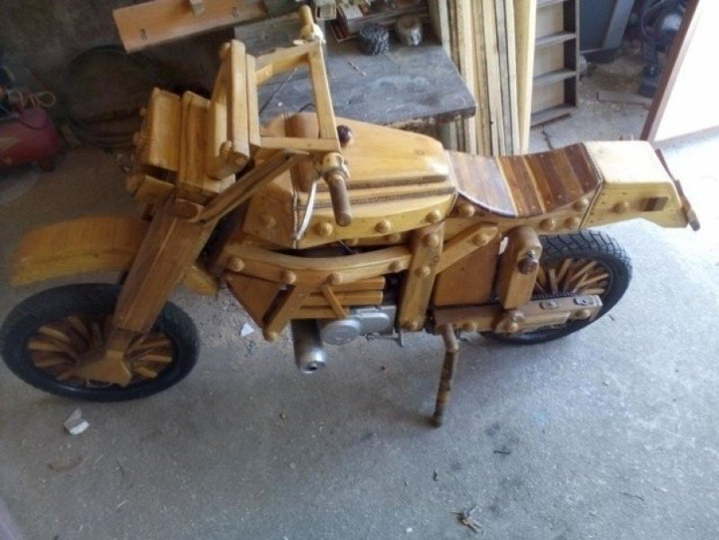 A motorbike made of wood