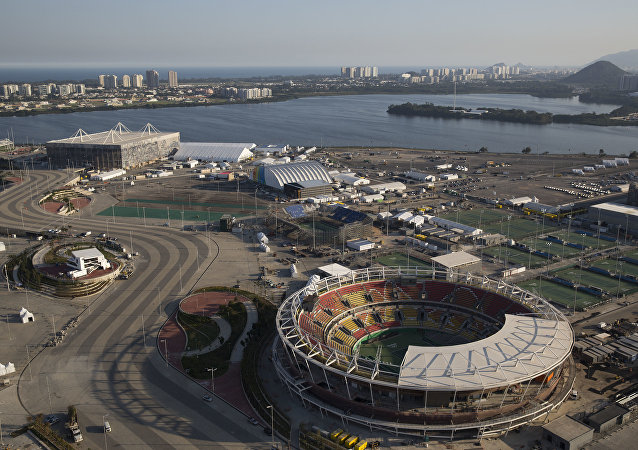 The Olympic Park of the 2016 Olympics is seen from the air, in Rio de Janeiro, Brazil, Monday, July 4, 2016