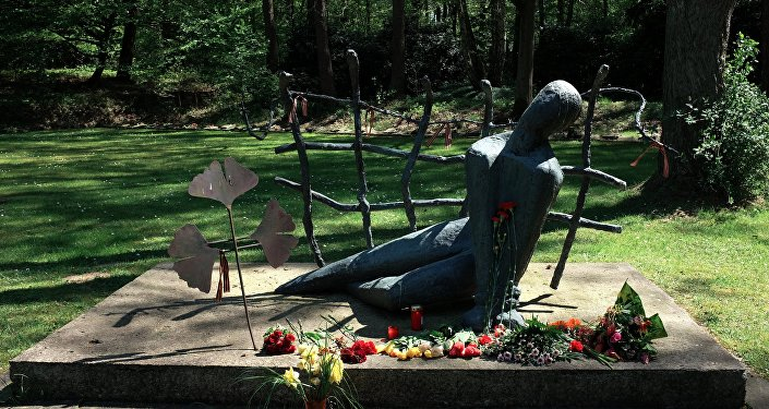 A memorial in Hamburg at the burial of 652 Soviet POWs killed at the Neuengamme concentration camp between October 1941 and May 1942