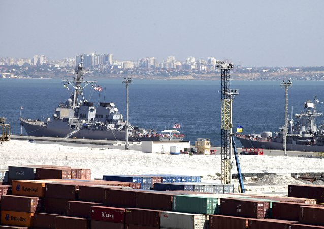 USS Donald Cook, left, and Ukrainian Navy flagship, frigate Hetman Sahaydachniy, are moored in the Black Sea port of Odessa, Ukraine, Tuesday, Sept. 1, 2015