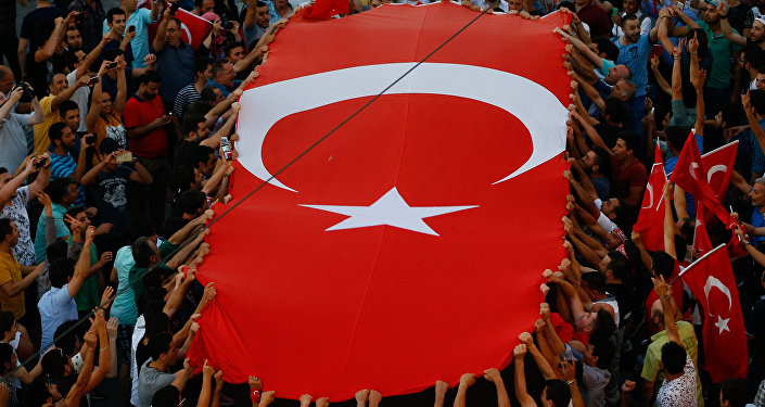 People gather at a pro-government rally in central Istanbul's Taksim square, Saturday, July 16, 2016.