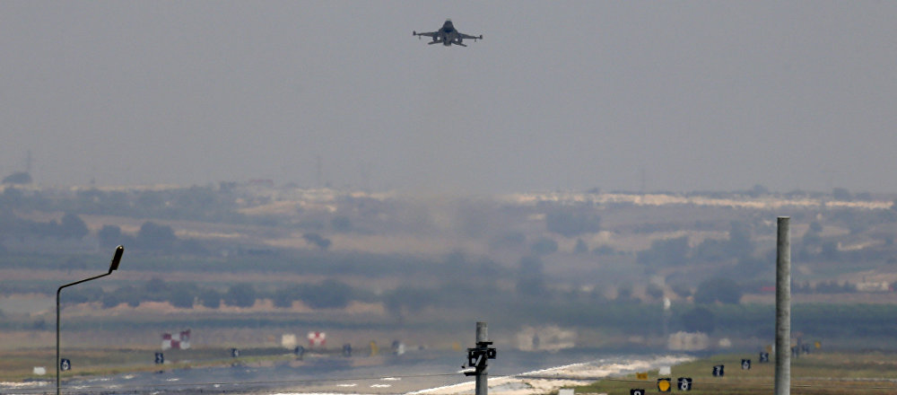 A Turkish Air Force warplane takes off from the Incirlik Air Base, in the outskirts of the city of Adana, southeastern Turkey.
