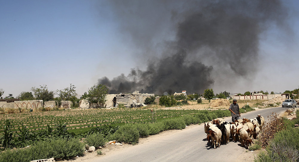 A young Syrian shepherd leads his flock on June 14, 2016 as smoke billows from a farm following a reported airstrike in Sheifuniya, near the rebel-held town of Douma, east of the capital Damascus