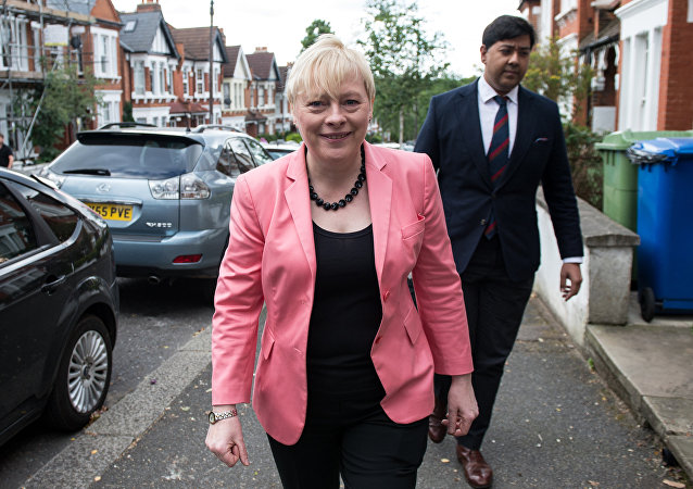 British Opposition Labour Party MP Angela Eagle is pictured as she leaves her home in London on July 11, 2016