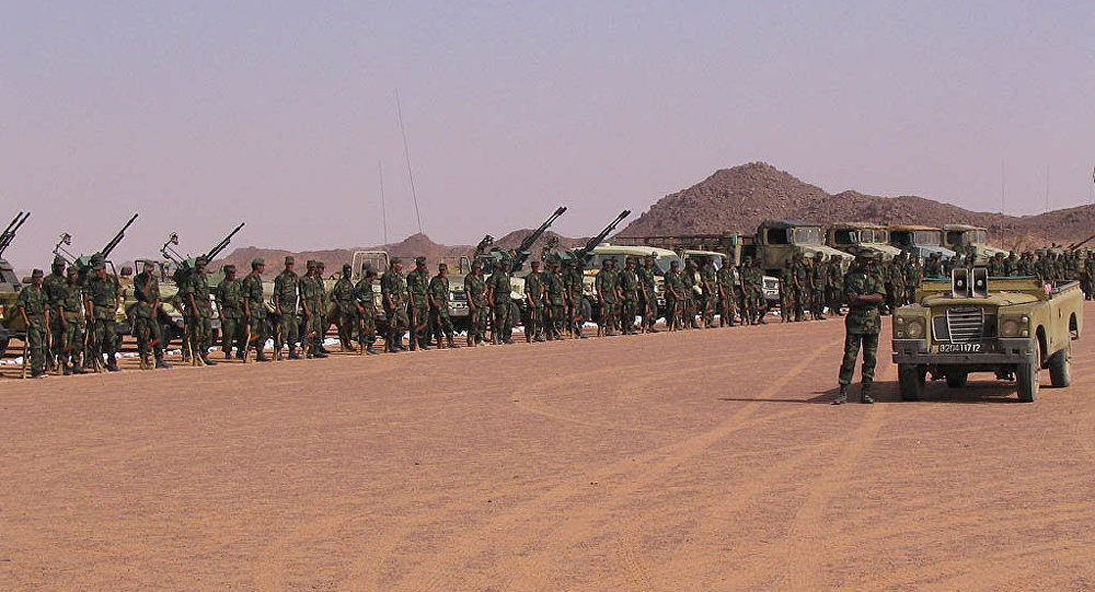 Gathering of Polisario troops, near Tifariti (Western Sahara), celebrating the 32nd anniversary of the Polisario Front