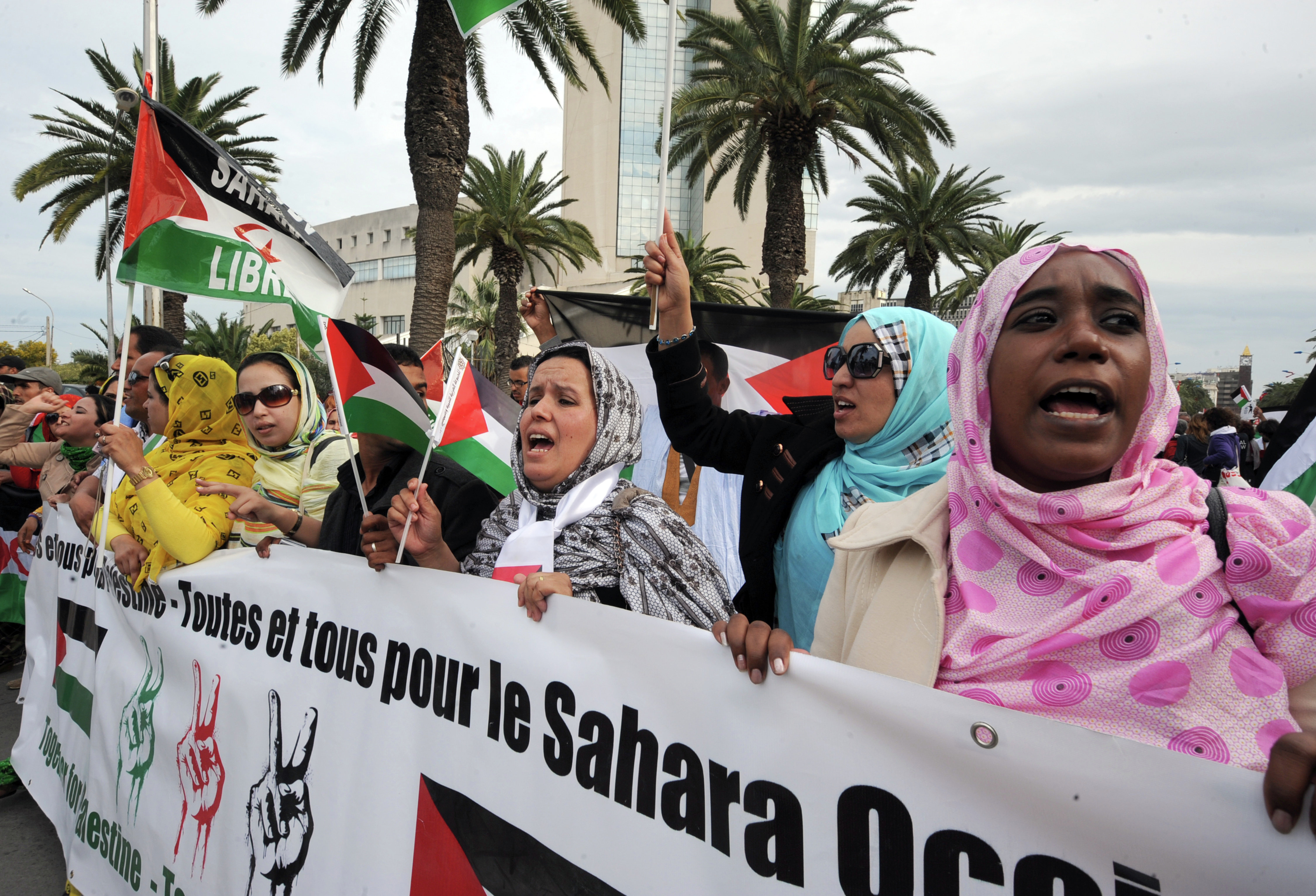 Supporters of the Polisario Front separatist movement hold a banner reading All for Palestine, all for Western Sahara during a demonstration at the closing of the World Social Forum (WSF) in Tunis. (File)