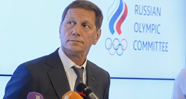 President of the Russian Olympic Committee Alexander Zhukov is interviewed by journalists following a meeting of the Russian Olympic Committee's Executive Committee in Moscow