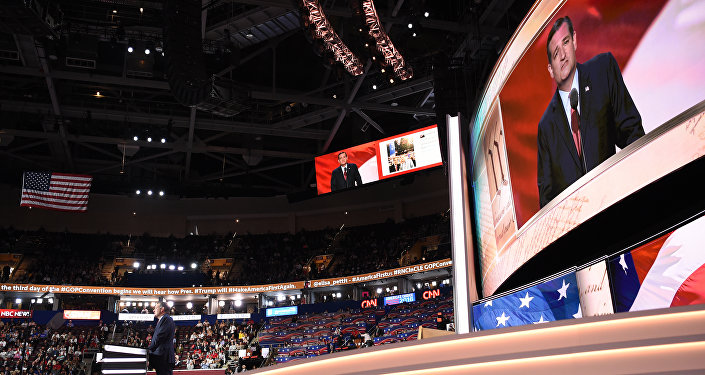 Senator Ted Cruz addresses delegates on day three of the Republican National Convention at the Quicken Loans Arena in Cleveland, Ohio on July 20, 2016.