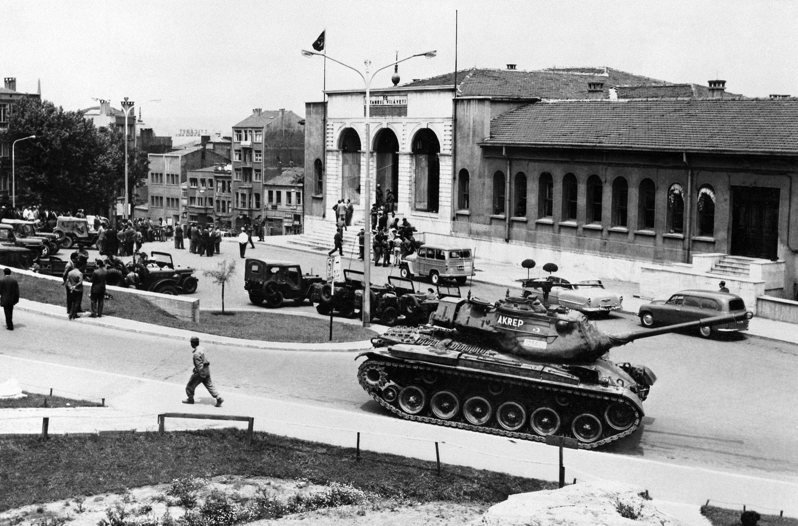 Following the overthrow of the Democratic Party by a military coup d'état, the Governor's Residence in Istanbul is guarded by Turkish Army tanks 30 May 1960