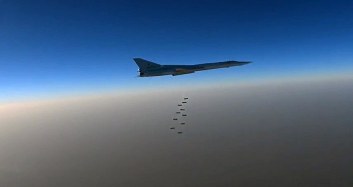 A file photo showing a Russian Air Force long-range bomber TU-22M3 seen here bombing Daesh targets near the towns of es-Sohne, Arak and al-Taiba in the Syrian province of Homs