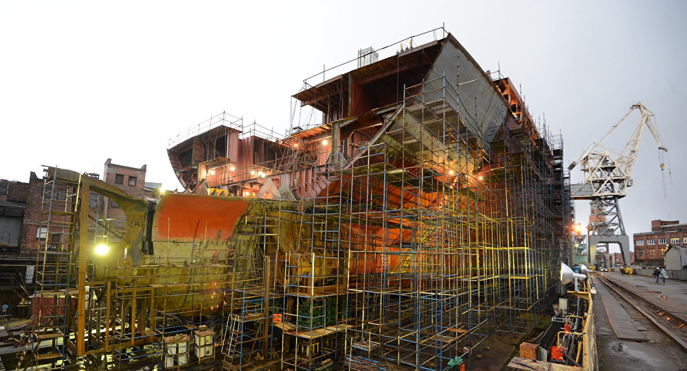 The Arktika ice-breaker seen in the Baltiysky Zavod shipyard, St.Petersburg.