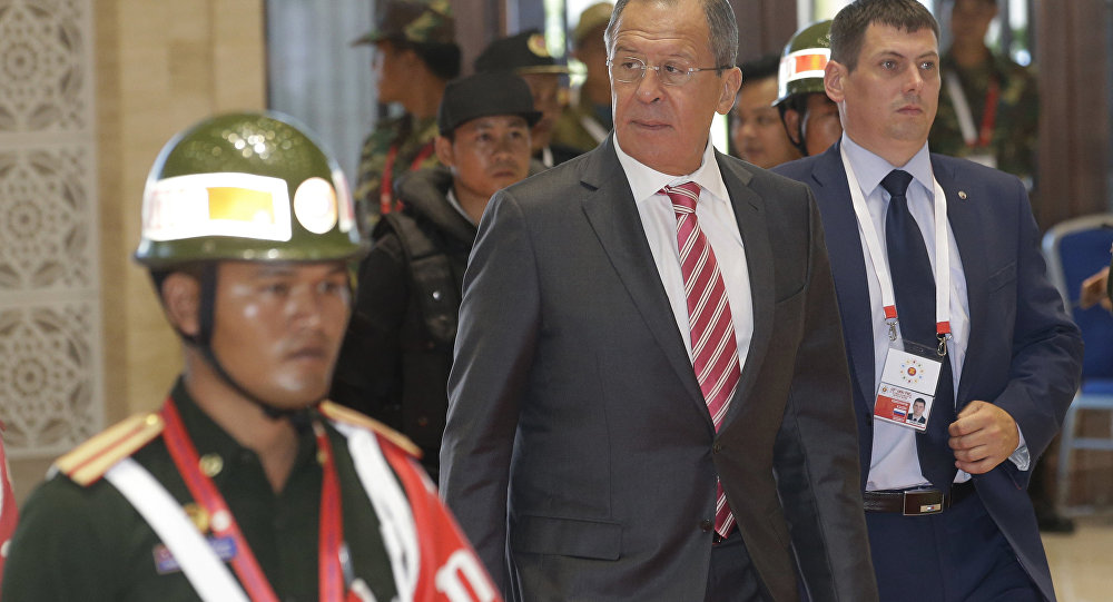 Russian Foreign Minister Sergey Lavrov arrives for the Association of Southeast Asian Nations (ASEAN) Foreign Ministers' Meeting in Vientiane, Laos, Monday, July 25, 2016.