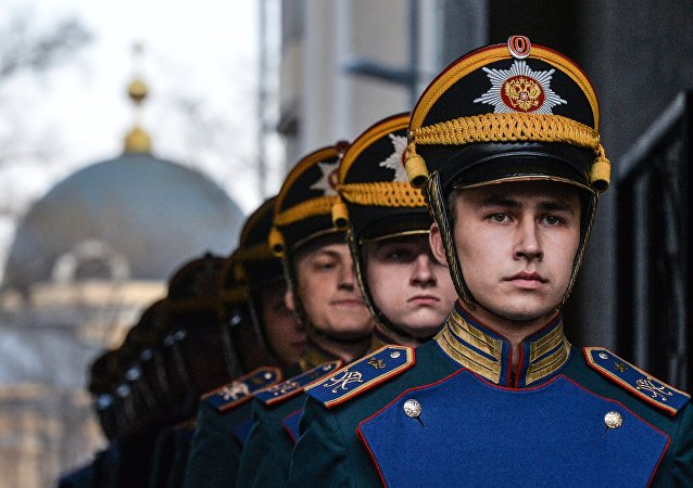 An exhibition performance of the Presidential Regiment's Special Guards Squadron during the opening of the exhibition Kremlin Honor Guard Traditions at the Museum of Military History of the Russian Military-Historical Society Shooters Chambers in Moscow.