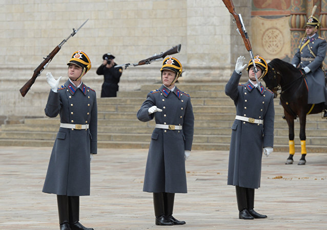 The Presidential Regiment at this year's first horse and foot guard changing ceremony on Cathedral Square of the Moscow Kremlin.