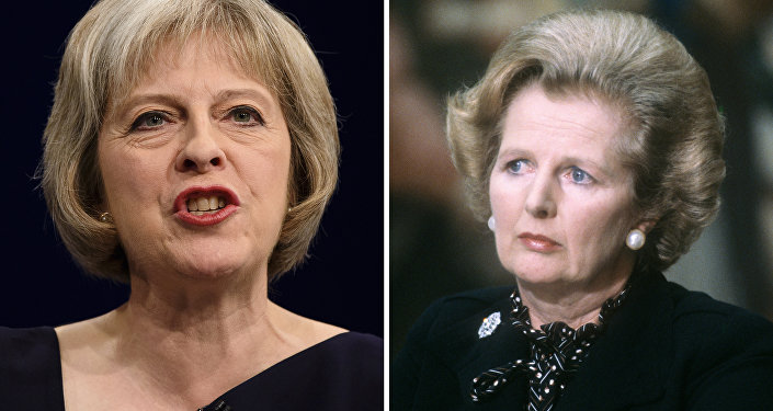 A combination of handout pictures made on July 13, 2016, shows the new leader of Britain's Conservative Party and future British Prime Minister Theresa May (L) and former British Prime Minister Margaret Thatcher.