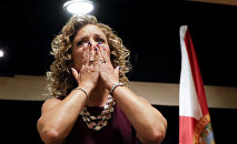 DNC Chairwoman, Debbie Wasserman Schultz, D-Fla., greeted the Florida delegation at a breakfast