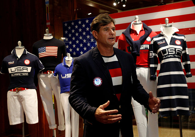Cliff Meidl, two-time U.S. Olympic athlete, models the official Team USA Opening Ceremony flag bearer outfit which will include special electroluminescent panels, at the Polo Ralph Lauren store in New York City, U.S., July 29, 2016