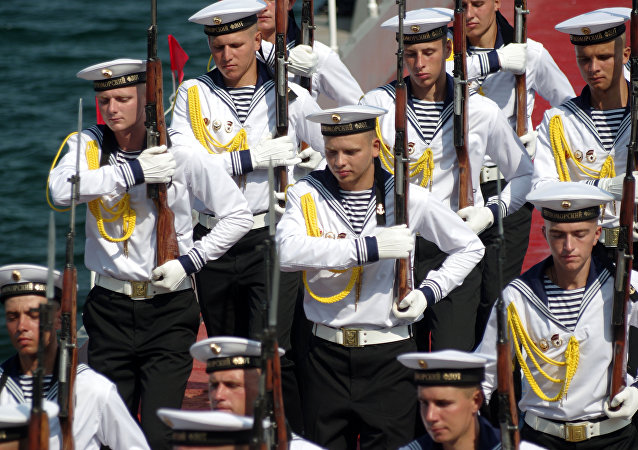 The Black Sea Fleet servicemen during the final rehearsal of the naval parade to mark Russian Navy Day in Sevastopol