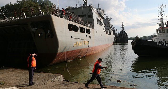 The Russian Ivan Gren landing ship has arrived in the naval port of Baltiysk after its maiden voyage for testing. (File)