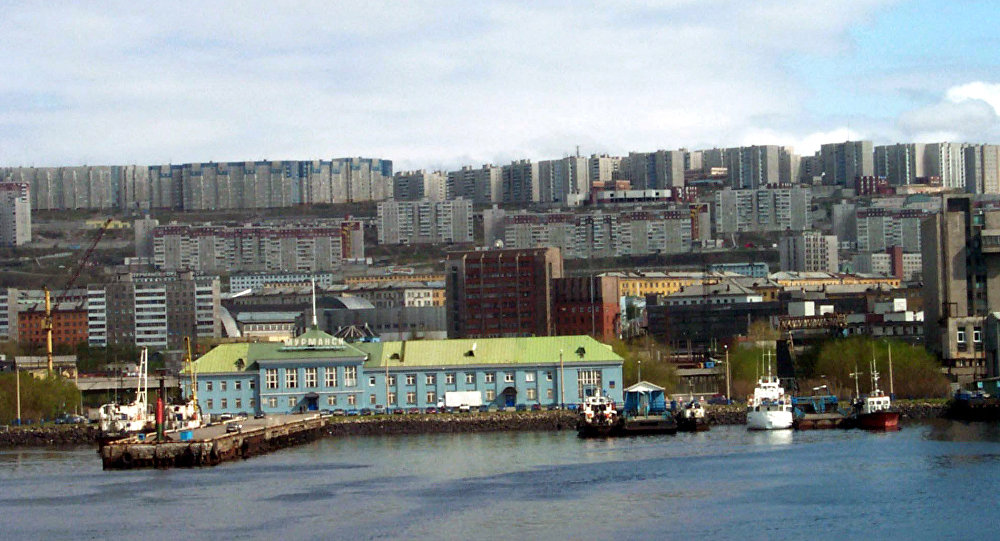A panorama of the Murmansk sea terminus from the Kola Gulf. Russia's extreme northwest