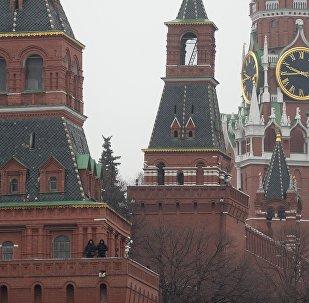 The Moscow Kremlin towers as seen from Bolshoy Moskvoretsky Bridge