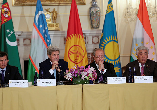 US Secretary of State John Kerry (2nd L) delivers remarks at the Central Asia Ministerial at the Department of State in Washington, US August 3, 2016.