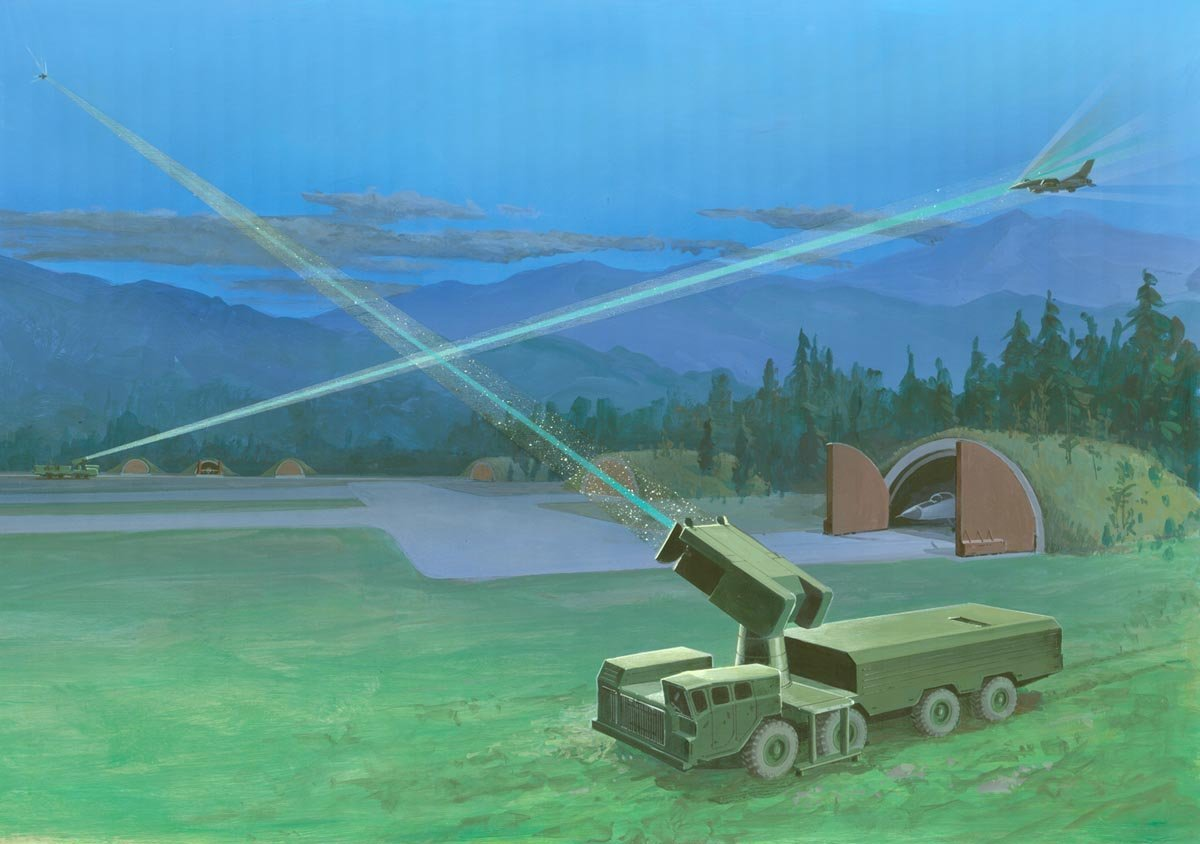 Soviet Mobile Lasers Defending an Airfield. Visualization from a DoD report on the Soviet military's potential capabilities, 1980s.