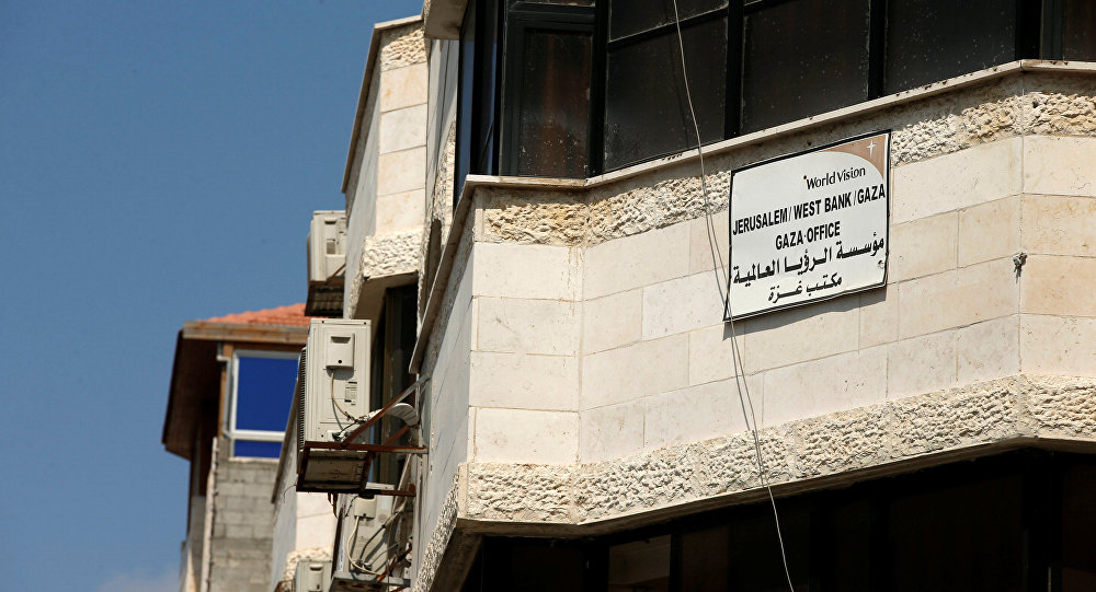 Christian charity World Vision organization is seen at a building housing the organisation's office in Gaza City August 4, 2016
