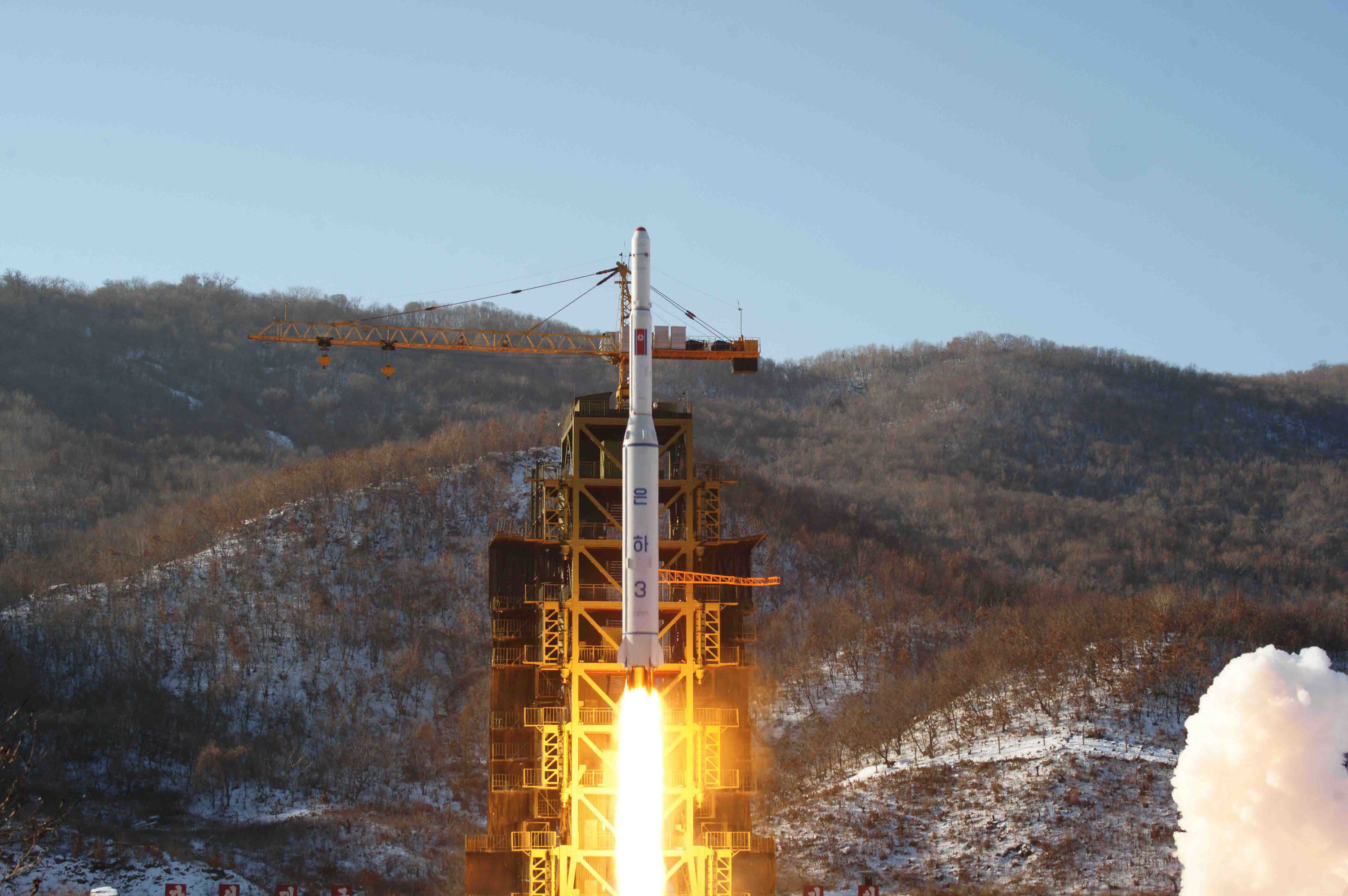In this Dec. 12, 2012 file photo released by Korean Central News Agency, North Korea's Unha-3 rocket lifts off from the Sohae launch pad in Tongchang-ri, North Korea