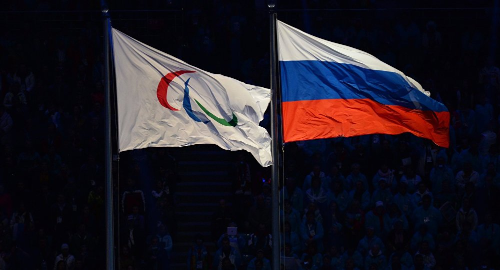The Paralympic flag and the Russian national flag. (File)