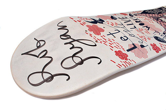 British artist Rob Ryan's skateboard design for Lovenskate