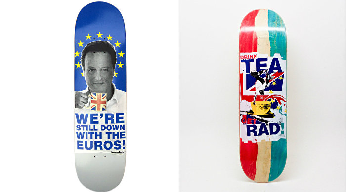 Other designs with political messages featured on skateboards by Lovenskate, London