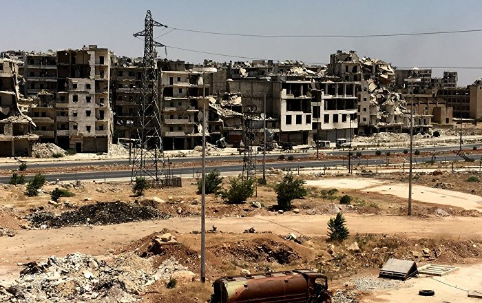 Syria. Damaged buildings in Al-Ramouseh district in southern Aleppo