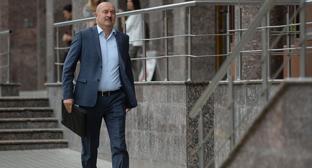 Russian football expert Stanislav Cherchesov before a meeting of the Rusian Football Union's Council of Coaches in Moscow