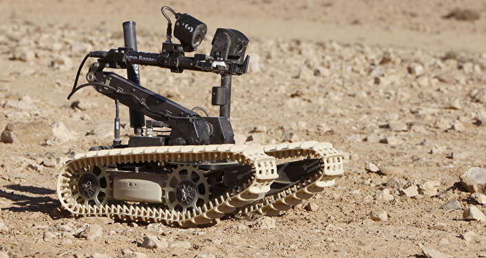 Pictured is a UK Dragon Runner Bomb Disposal Robot operating during Exercise Pashtun Links in Jordan