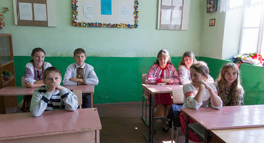 Students at a school in Ukraine, file photo.