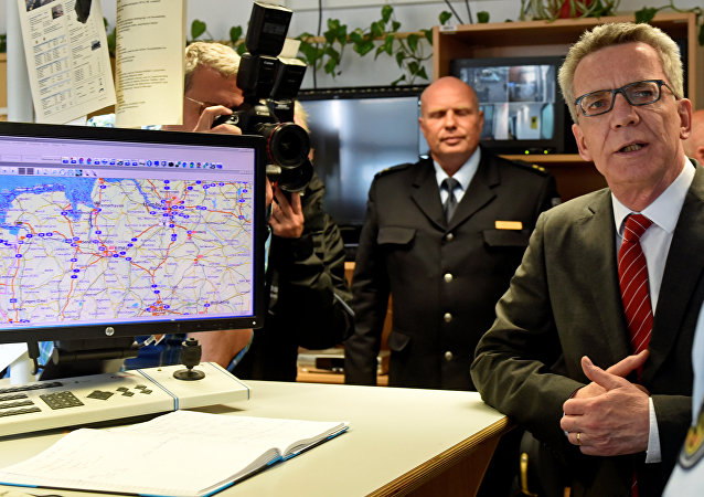 German Interior Minister Thomas de Maiziere is seen during his visit at the federal police inspection in Bremen, Germany, August 10, 2016