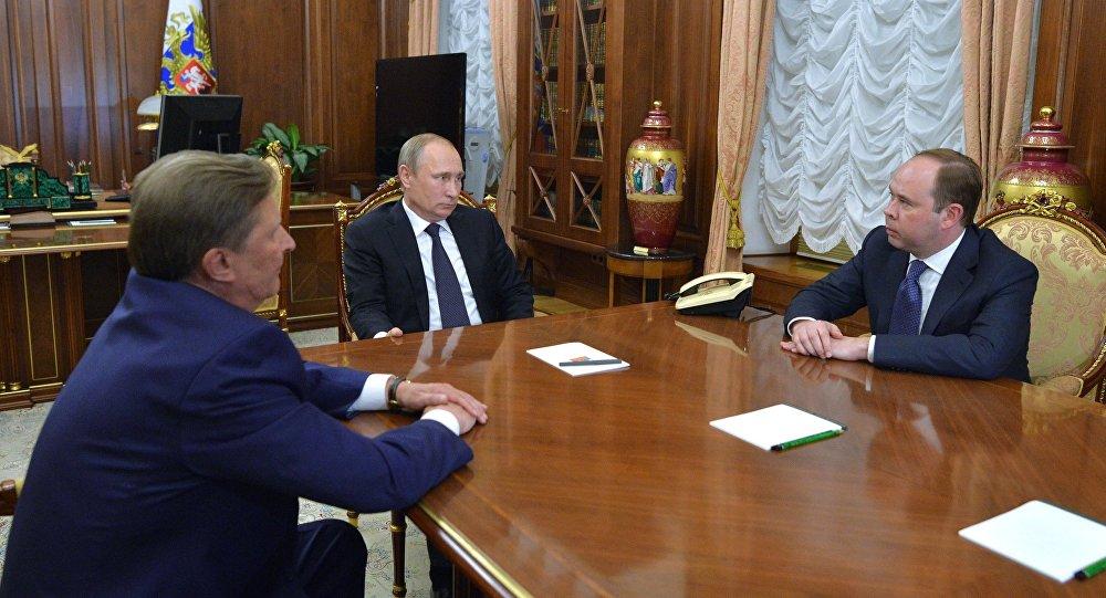 President Vladimir Putin meets with Sergei Ivanov and Anton Vaino