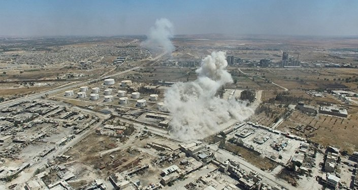 Air strike on terrorists' facilities in the Rasmus quarter in southwest Aleppo