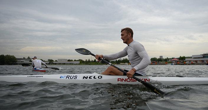 Russia's Roman Anoshkin earned a bronze medal at the Rio Olympics men's kayak single 100m event