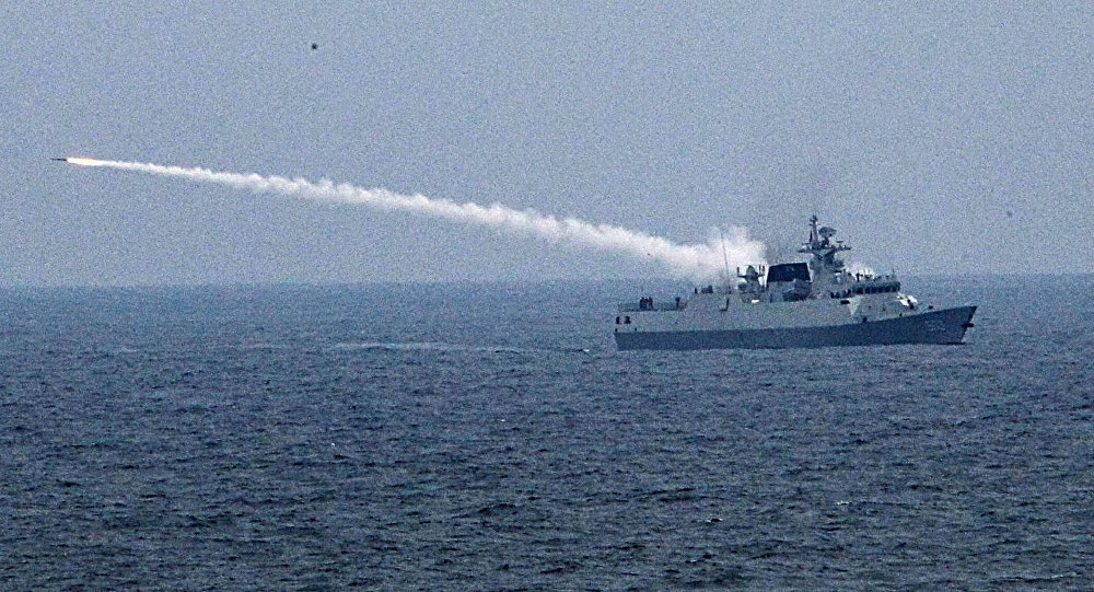 Type 056 corvette 503 firing short range anti-air missile during exercise