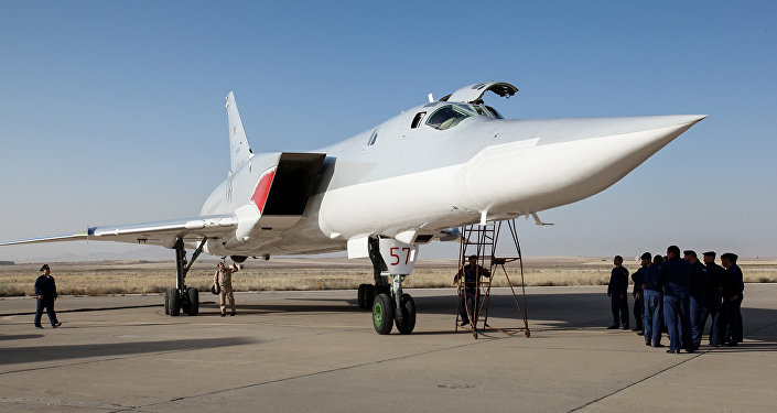 In this photo taken on Aug. 15, 2016, a Russian Tu-22M3 bomber stands on the tarmac at an air base near Hamedan, Iran