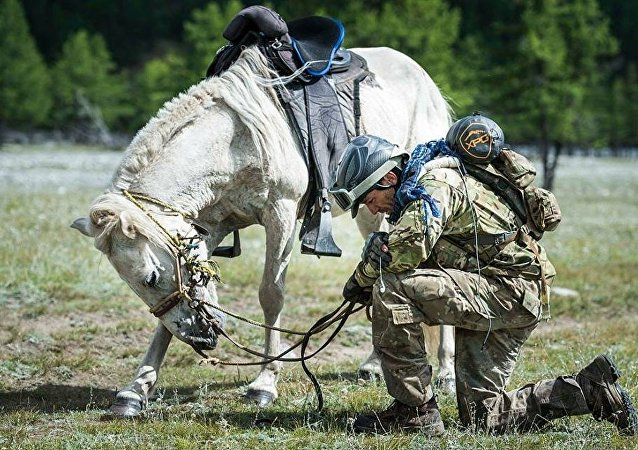 Tim Finley says a prayer to his military colleagues who have taken their own lives since returning from service in Afghanistan and Iraq. He named a horse on every leg of the Mongol Derby race after one of his colleagues that have passed away