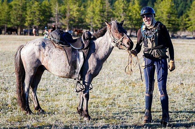 Josefine Schopman after finishing the Mongol Derby