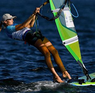 Stefaniya Yelfutina (Russia) during the women's RS:X sailing event at the XXXI Summer Olympics